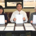 Kim Forgey, Webmaster, Superintendent Dr. John Burke and Community Relations Coordinator Liz Hames displayed the 10 certificates Haysville USD 261 won in the 2014 KASB and KanSPRA Publication Contest.